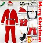 Christmas Xmas Santa 5 pieces Men costume Clothes Set Suit + Large Gift Bag