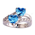 Xmas Gift Heart Blue & White Jewelry Silver Ring Size 6 7 8 9 10 11 12 Free Ship