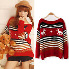 New Christmas Winter Girl's Sexy Reindeer Snowflake RKW Jumper Sweater Pullover