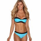 Removable straps moulded padded cups bandeau Bikini set hipster bottom swimwear