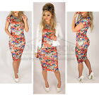 Multi Flower Print Pencil Bodycon Holiday Party Cap Sleeve Midi Dress Diva Look