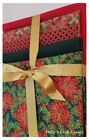 Red & gold Snowflakes 100% Cotton Patchwork Fabric FAT QUARTER BUNDLE christmas