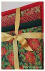 Christmas Pointsettia Fabric FAT QUARTER BUNDLE 100% cotton red green gold