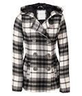 AERO Aeropostale Hooded Plaid Peacoat Pea Coat Winter Jacket XS,S,M,L,XL,2XL NEW