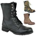 Womens Ankle Boots Worker Combat Biker Military Flat Lace Up Shoes Size