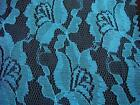 1 yard 100% polyester Floral LACE fabric. 57-58''dark turquoise