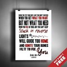 COLDPLAY LYRICS POSTER * Fix You Song Music * Wall Art Print Typography A3 / A4