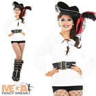 White Pirate Shirt + Belt Ladies Fancy Dress Pirates Womens Costume Adults Top