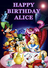 Alice in Wonderland Party Cake Decoration icing sheet personalised Birthday