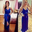 Sexy Women Spaghetti Strap Cocktail Deep V High Split Party Maxi Dress With Belt