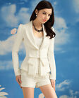 Fashion Classic Big Bow Autumn White Blazer Petites Women's Suits Lapel Jacket