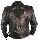 Xelement B7106 Brown Classic Embossed Soft Premium Leather Motorcycle Jacket