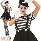 Mime Artiste Ladies Fancy Dress Ladies French Circus Pierrot Clown Women Costume