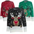 Smiling Cartoon Rudolph Reindeer Kids Boys Girls Novelty Christmas Jumper Top
