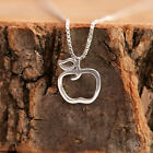 925 Sterling Silver Dainty Cute Apple Pendant Chain Necklace Lucky Gift with Box