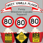 80th Birthday Party Milestone EDIBLE wafer 15 Cupcake Toppers PRECUT cup cake