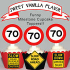 70th Birthday Party Milestone EDIBLE wafer 15 Cupcake Toppers PRECUT cup cake