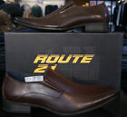 Mens Designer Route 21 Synthetic Leather formal casual slip on shoes Brown M719B