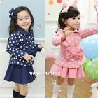 Toddler Kids Baby Girl Polka Dot Bow Knot Coat Tops Pleated Skirt Dress Set 2-7T