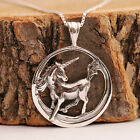 925 Sterling Silver Handcraft Unicorn Round Pendant Chain Necklace With Gift Box
