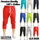 MEN'S IMPERIOUS 12 DIFFERENT COLORS FLEECE 3/4 CAPRI JOGGER PANTS 100% COTTON