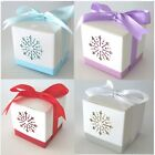 10 or 12 Snowflake Christmas Table Wedding Favour Boxes & Ribbon, 3 colours FBX2