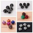 Wholesale Nice Color Cross Pattern Carved Round Acrylic Spacer Beads Findings C