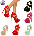LADIES CUT OUT PEEP TOE STRAPPY PLATFORM STILETTO HIGH HEEL SANDAL SHOES SIZE