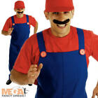 Red Plumbers Mate 80s Fancy Dress Adult Mens 1980s Mario Costume Outfit + Hat