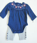 Carter's Baby Girls Embroidered Long Sleeve Bodysuit and Pants Set Pink Blue NWT