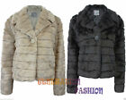 NEW LADIES FAUX FUR WINTER BUTTON POCKET SHORT JACKET WOMENS STRIPE COLLAR COAT