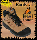 Mongrel Work Boots (480070) Steel-Toe Safety Tan Nubuck Hiker Boots Brand New*