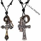 New Design Cross Ring Pendant With Genuine Leather Rope Vintage Style