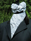 White and Navy Blue Paisley and Daisy Design Ready Tied/Self Tied Riding Stock +