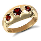 Men's 9ct Yellow Gold Real Garnet Trilogy Ring