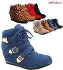 High Top Fashion Round Toe Lace Up Wedge Sneaker Women's Shoes Size 5 - 10 NEW