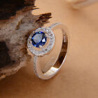 Charming 925 Sterling Silver Sapphire & White Topaz Wedding Ring size 6/7/8/9
