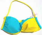 ROXY bandeau twist bikini top colour block yellow blue pink