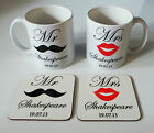 New Personalised Bride Groom Mr and Mrs Mug Gift Set - Wedding Gift Anniversary