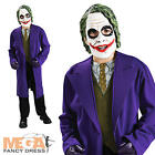 The Joker Fancy Dress Batman Villian Boys Halloween Kids Costume + Mask Age 3-10