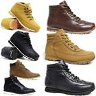 Mens Hiking Walking Biker Faux Leather New Trail Trainers Ankle Boots Shoes Size