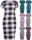 Womens Plus Size Aztec Check Printed Ladies Short Sleeve Bodycon Midi Dress Top