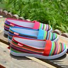 Women's Comfortable Canvas Shoes Casual Soft Rainbow Colorful Shoes Flats XWD880