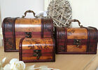 Rustic Wooden Colonial Style Trunk Treasure Chest Vintage Postcard Storage Box