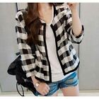 Women's Spring Autumn Casual Plaid Jackets Open Stitch O-Neck Coat Outerwear