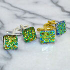 Dichroic Glass Cufflinks Silver or Gold T Bar Fittings Iridescent Gold Green