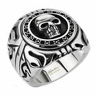 316L Stainless Steel Men's Skull Shield Wide Ring Size 9-15