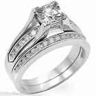 6x6 mm Two Pieces April Clear CZ Birthstone Ladies Wedding Ring Set Size 5-10