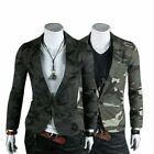 Mens Casual Military Slim Fit One Button Suit Pop Blazer Coat Jacket Camo MWX007