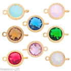 1PC Gold Plated Round Connector Jewelry Making Findings Inlay Resin Rhinestone